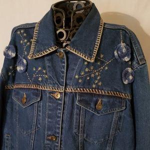 Stylish Embroidered Denim Blue Jean Jacket